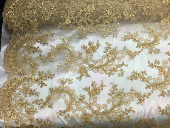 Master design embroidered mesh lace fabric gold. Sold by the yard - KINGDOM OF FABRICS