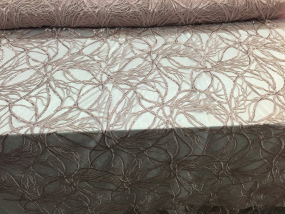 Branches & root design mesh lace fabric dusty rose. Sold by the yard - KINGDOM OF FABRICS