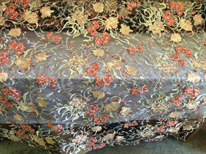Vivid multicolor flower design mesh lace fabric gold. Sold by the yard - KINGDOM OF FABRICS