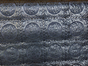 Metallic silver white tablecloth vinyl fabric. Sold by the yard. - KINGDOM OF FABRICS