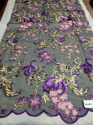 Amazing multicolor mesh flower lace fabric purple pink. Sold by the yard. - KINGDOM OF FABRICS