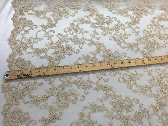 Craziest flower design mesh lace fabric champagne. Sold by the yard - KINGDOM OF FABRICS