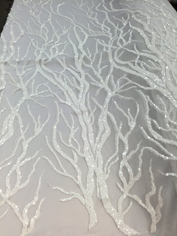 Lucky root tree design mesh lace fabric sequins white. Sold by the yard - KINGDOM OF FABRICS