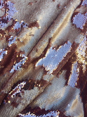 Queens reversible Sequins Mesh lace Fabric champagne. Sold By The Yard - KINGDOM OF FABRICS