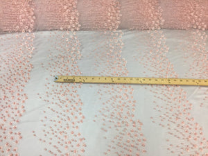 Super Beaded Pearls Mesh Lace Bridal Wedding pink. Sold By The Yard - KINGDOM OF FABRICS