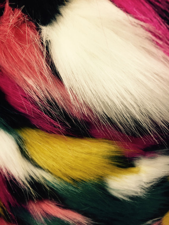 Luxurious multicolor faux fur fabric fuschia green. Sold By The Yard - KINGDOM OF FABRICS