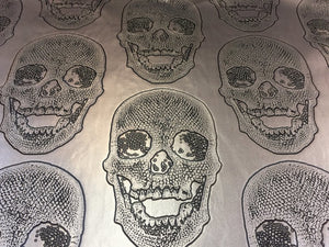 Luxurious skulls Design upholstery Heavy duty vinyl fabric gray. Sold By The Yard - KINGDOM OF FABRICS