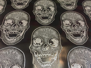 Luxurious skulls Design Heavy duty upholstery vinyl fabric black and white. Sold By The Yard - KINGDOM OF FABRICS
