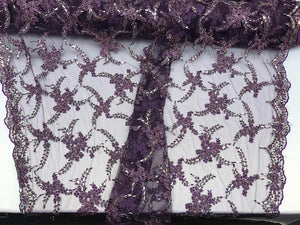 Super superb Heavy Beaded Mesh Lace Fabric Bridal Wedding metallic purple. Sold By the yard - KINGDOM OF FABRICS