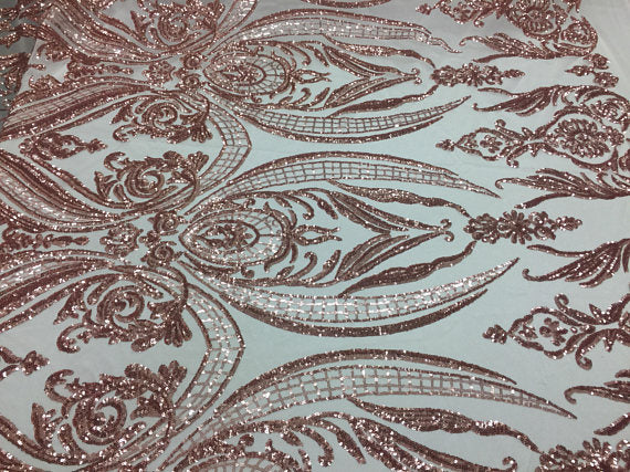 Conquered Design Bridal Wedding Mesh Lace Fabric blush. Sold By The Yard - KINGDOM OF FABRICS