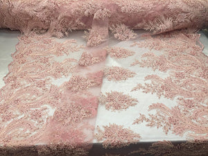 Glory Design Bridal Wedding Mesh Lace Fabric Beaded pink. Sold By The Yard - KINGDOM OF FABRICS
