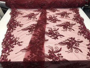 Invencible Design bridal Wedding beaded pearls mesh lace Fabric Burgundy. Sold By The Yard - KINGDOM OF FABRICS