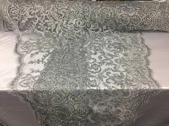 Exclusive Designs Bridal Wedding Beaded Mesh Lace Fabric silver. Sold By The Yard - KINGDOM OF FABRICS