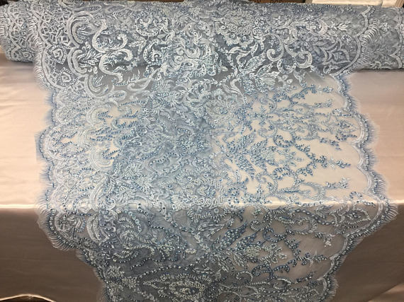 Exclusive Designs Bridal Wedding Beaded Mesh Lace Fabric blue. Sold By The Yard - KINGDOM OF FABRICS