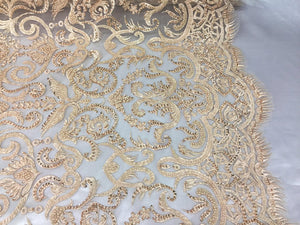 Exclusive Designs Bridal Wedding Beaded Mesh Lace Fabric lt gold. Sold By The Yard - KINGDOM OF FABRICS