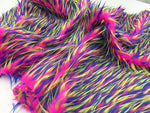 Luxurious Faux Fur Fabric Multicolor Fuschia Neon Blue. Sold By The Yard - KINGDOM OF FABRICS