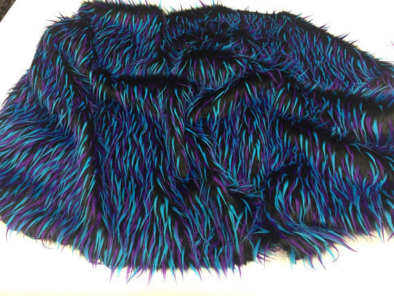 Luxurious Faux Fur Fabric Multicolor Black Blue Neon. Sold By The Yard - KINGDOM OF FABRICS