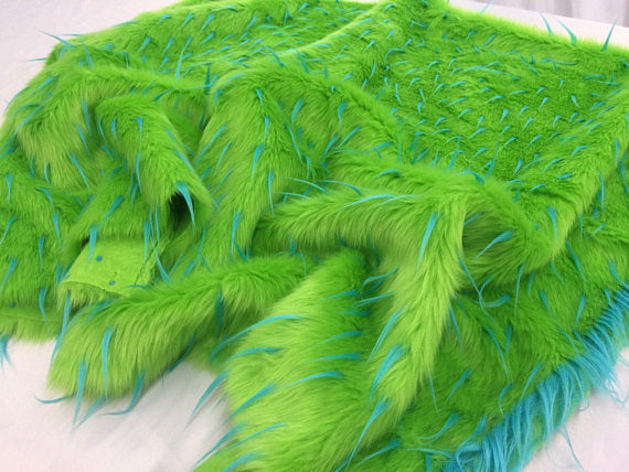 Luxurious Faux Fur Fabric Multicolor Spikes Green. Sold By The Yard - KINGDOM OF FABRICS