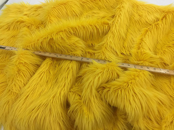 Luxurious faux fur fabric shaggy yellow. Sold by the yard - KINGDOM OF FABRICS