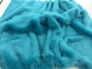 Luxurious faux fur fabric shaggy turquoise sold by the yard - KINGDOM OF FABRICS