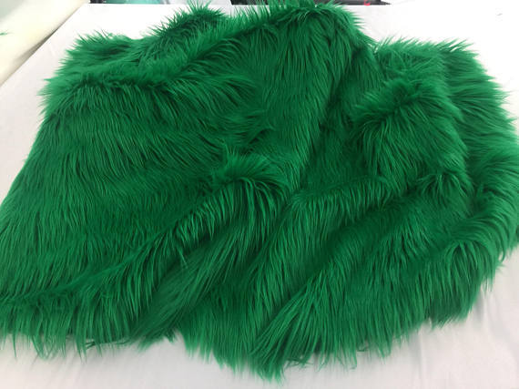 Luxurious faux fur fabric shaggy dk green. Sold By The Yard - KINGDOM OF FABRICS
