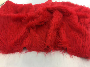 Luxurious faux fur Fabric shaggy red sold by the yard - KINGDOM OF FABRICS