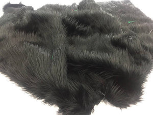 Luxurious faux fur Fabric shaggy black sold By The Yard - KINGDOM OF FABRICS
