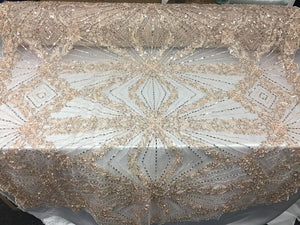 Fraternity Design Bridal Wedding Beaded Mesh Lace Fabric Cream. Sold By The Yard - KINGDOM OF FABRICS