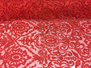 Exclusive Designs Bridal Wedding Beaded Mesh Lace Fabric red. Sold By The Yard - KINGDOM OF FABRICS