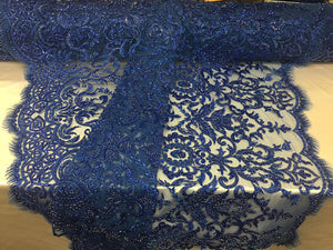 Exclusive Designs Bridal Wedding Beaded Mesh Lace Fabric Royal Blue. Sold By The Yard - KINGDOM OF FABRICS