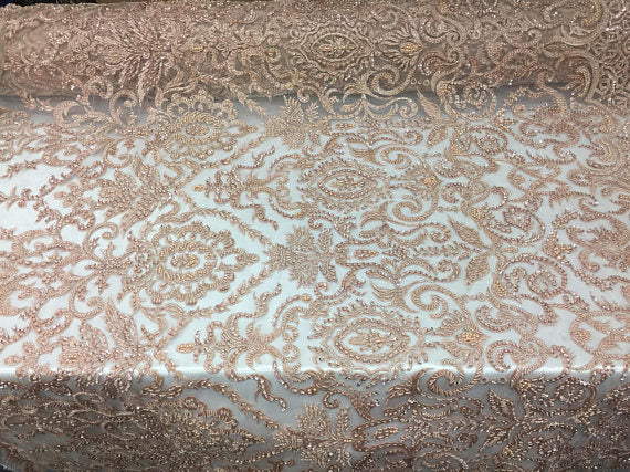 Exclusive Designs Bridal Wedding Mesh Lace Fabric Beaded skin. Sold By The Yard - KINGDOM OF FABRICS