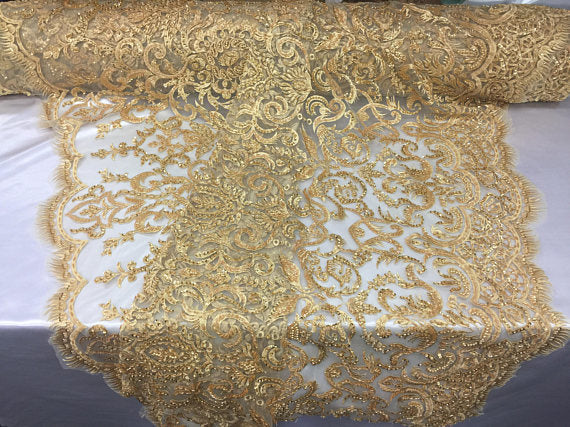 Exclusive Designs Bridal Wedding Beaded Mesh Lace Fabric Gold. Sold By The Yard - KINGDOM OF FABRICS