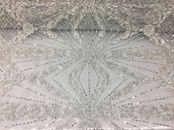 Top Designers Bridal Wedding Beaded Mesh Lace Fabric silver. Sold By The Yard - KINGDOM OF FABRICS