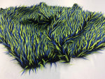 Luxurious Faux Fur Fabric Multicolor Black Neon Blue. Sold By The Yard - KINGDOM OF FABRICS