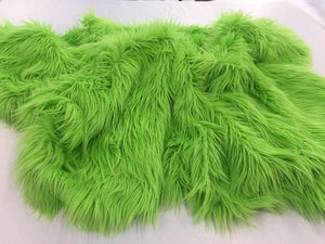 Luxurious faux fur Fabric shaggy green. Sold By The Yard - KINGDOM OF FABRICS