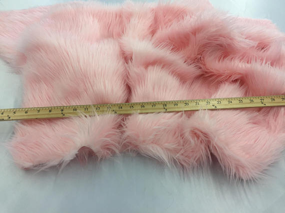 Luxurious faux fur Fabric shaggy pink sold By The Yard - KINGDOM OF FABRICS