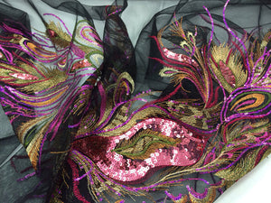 Fuchsia/gold peacock feathers on a black mesh lace embroider. 45x50 inches. Sold by 2 panels. - KINGDOM OF FABRICS