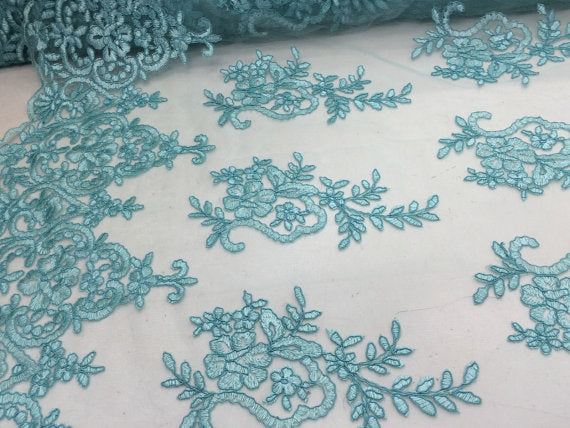 Tifany/ Aqua Blue Flower Embroider On A Mesh Lace. Sold By The Yard36x50inches. - KINGDOM OF FABRICS