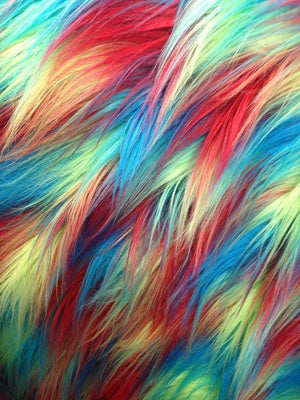FAUX FUR FABRIC FANCY DESIGNS Multi color fake fur. Sold by the yard. - KINGDOM OF FABRICS