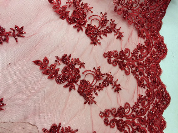 Bridal wedding beaded red fabric mesh lace. Sold by the yard. - KINGDOM OF FABRICS