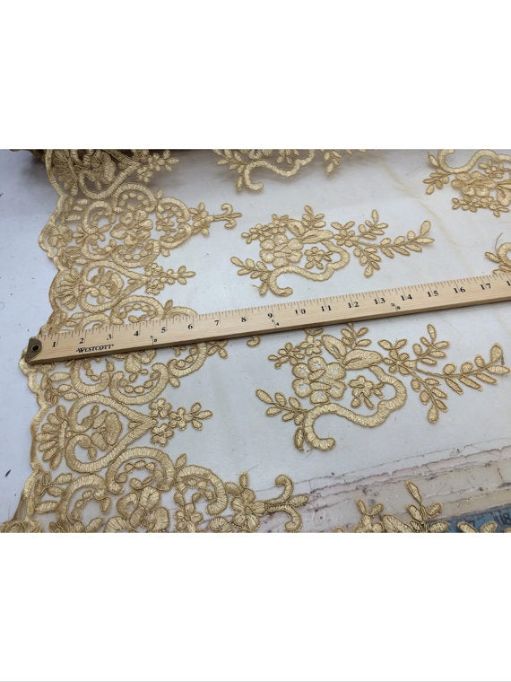 French design bridal wedding fabric mesh lace gold. Sold by yard. - KINGDOM OF FABRICS