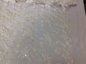 Luxury bridal wedding beaded mesh fabric lace white. Sold by the yard. - KINGDOM OF FABRICS