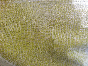 crocodile faux leather vinyl fabric green color by the yard - KINGDOM OF FABRICS