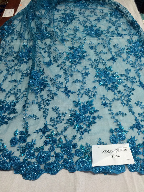 Super bridal wedding heavy beaded small flower mesh lace teal. Sold by the yard. - KINGDOM OF FABRICS