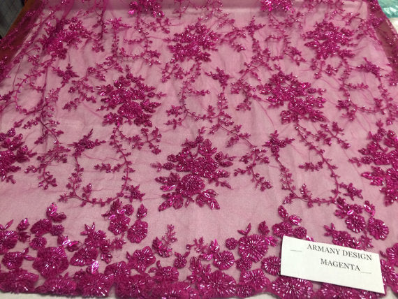 Super bridal wedding heavy beaded small flower mesh lace magenta. Sold by the yard - KINGDOM OF FABRICS