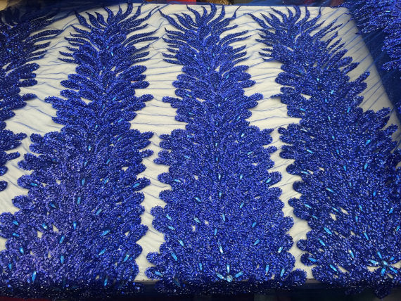 Supreme bridal wedding peacock beaded feather mesh royal blue. Sold by 2 feathers. - KINGDOM OF FABRICS