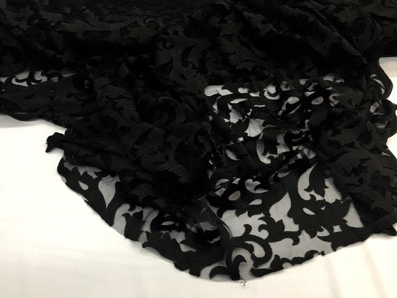 Magical bridal wedding mesh lace fabric black. Sold by the yard. - KINGDOM OF FABRICS