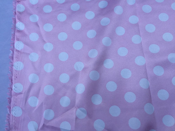 Pink/white 1/2inch Polka Dot Silky/soft Charmeuse Satin Fabric. - KINGDOM OF FABRICS