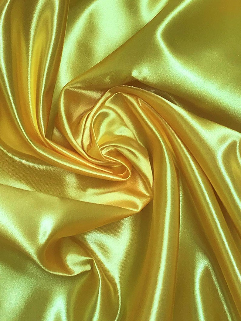 "Bridal Satin Thick and Shiny 60"" Wide Sells by The Yard (Yellow) - KINGDOM OF FABRICS"
