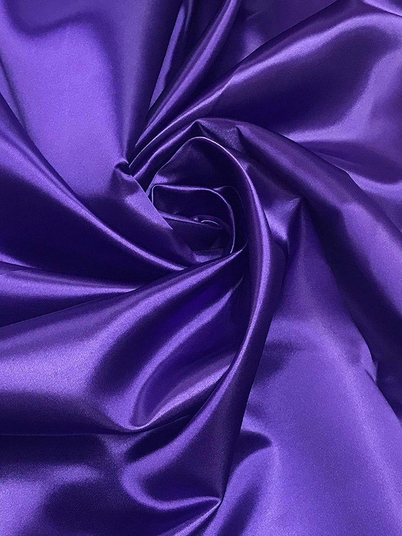 "Bridal Satin Thick and Shiny 60"" Wide Sells by The Yard (Purple) - KINGDOM OF FABRICS"
